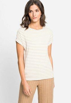 Olsen - MIT STREIFEN - T-Shirt print - hellbraun