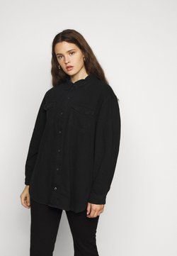 Missguided Plus - BOYFRIEND FIT OVERSIZED SHIRT - Hemdbluse - black