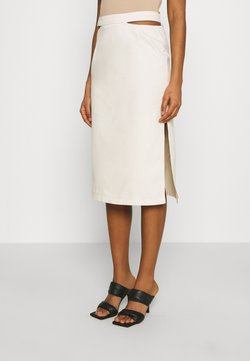NA-KD - CUT OUT SKIRT - Gonna di jeans - light beige