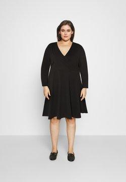 Simply Be - WRAP SKATER DRESS - Jersey dress - black
