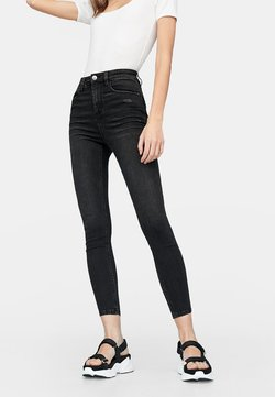 Stradivarius - HIGH WAIST  - Jeansy Skinny Fit - black