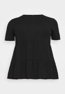 New Look Curves - DOUBLE TIER PEPLM - T-Shirt basic - black