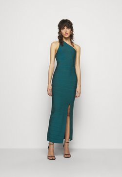 Hervé Léger - ONE SHOULDER GOWN - Shift dress - slate teal