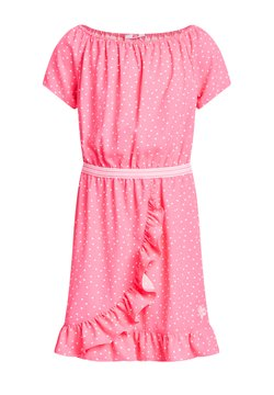 WE Fashion - MET STIPPENDESSIN EN VOLANT - Freizeitkleid - pink