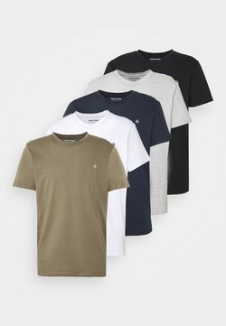 Jack & Jones - JORTIMES TEE CREW NECK 5 PACK - Basic T-shirt - dark blue/black/white/light grey/khaki