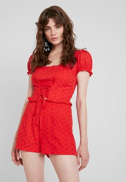 Missguided - BROIDERIE MILK MIAD PLAYSUIT - Combinaison - red
