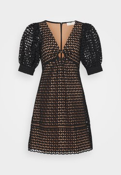 MICHAEL Michael Kors - GEO EYELET MINI DRESS - Freizeitkleid - black