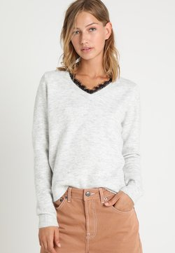 Vero Moda - VMIVA - Strickpullover - light grey melange/w. snow melange