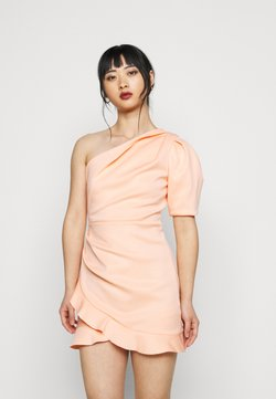 Miss Selfridge Petite - ONE SHOULDER SCUBA DRESS - Vestido de cóctel - peach