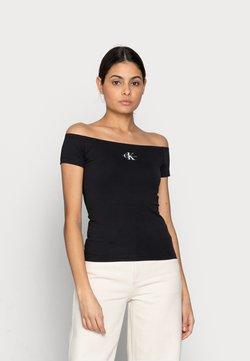 Calvin Klein Jeans - MONOGRAM SLIM BARDOT TOP - T-Shirt print - black