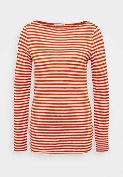 Marc O'Polo - LONG SLEEVE BOAT NECK STRIPED - Langarmshirt - multi/pumpkin orange