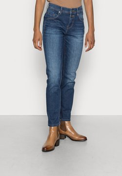 Marc O'Polo - TROUSER MID WAIST BOYFRIEND FIT CROPPED LENGTH - Jeans Slim Fit - cashmere dark blue wash