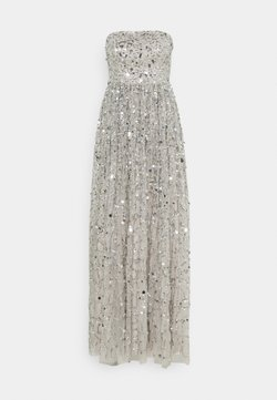 Maya Deluxe - ALL OVER EMBELLISHED BANDEAU MAXI - Vestido de fiesta - soft grey