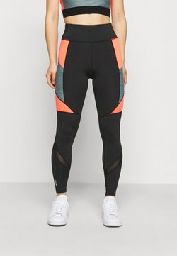 ONLY PLAY Petite - ONPALANI TRAINING TIGHTS - Leggings - black/goblin blue/fiery coral