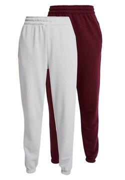 Missguided - BASIC JOGGERS 2 PACK - Jogginghose - grey/burgundy