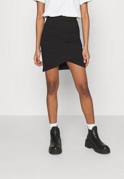 Even&Odd - Asymetric overlap wrap mini high waisted skirt - Gonna a tubino - black