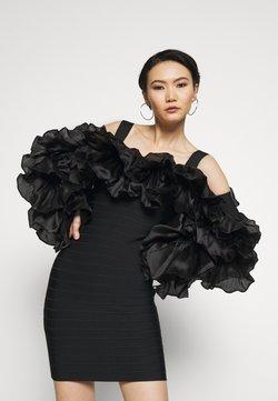 Hervé Léger - RUFFLE SLEEVE MINI - Vestido de cóctel - black