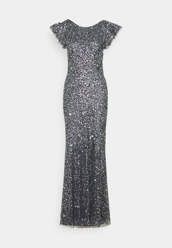 Maya Deluxe - FLUTTER SLEEVE ALL OVER SEQUIN MAXI DRESS WITH DIP BACK - Vestido de fiesta - charcoal
