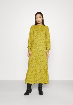 Glamorous - SMOCKED HIGH NECK MAI DRESSES WITH LONG SLEEVES - Maxikleid - yellow