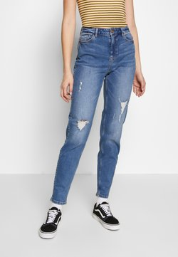 PIECES Tall - PCKESIA MOM DESTROY - Relaxed fit jeans - medium blue denim