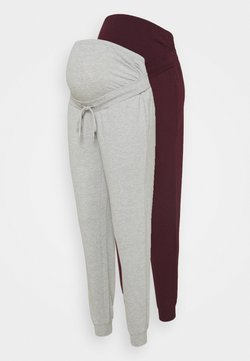 Anna Field MAMA - 2 PACK - Jogginghose - light grey/bordeaux