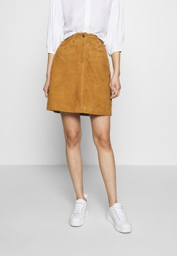 Selected Femme - SLFLOVE SUEDE SKIRT - Mini skirt - bronze brown