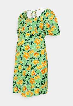 Glamorous Bloom - MINI BUTTON THROUGH DRESS WITH GATHERED BUST PANEL - Freizeitkleid - green