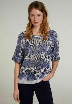 Oui - MIT KURZEN ÄRMELN - T-Shirt print - light grey blue