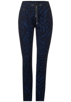 Street One - LOOSE FIT MIT ZEBRA - Jogginghose - blau