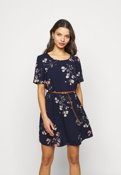 Vero Moda Petite - VMANNIE BELT SHORT DRESS - Freizeitkleid - night sky/hallie