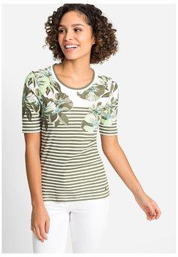 Olsen - WITH EXOTIC FLOWERS AND STRIPES - T-Shirt print - khaki/white