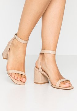 Lost Ink Wide Fit - BLOCK HEEL BARELY THERE - Sandalen - cream