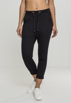 Urban Classics - LADIES OPEN EDGE TERRY TURN UP PANTS - Jogginghose - black