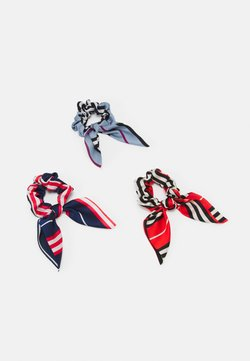 Pieces - PCCICCIO 3-PACK BOW SCRUNCHIE - Hair Styling Accessory - cherry tomato/navy
