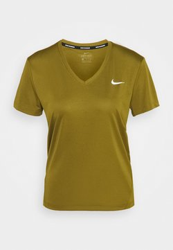Nike Performance - MILER V NECK - Camiseta estampada - olive flak/reflective silver