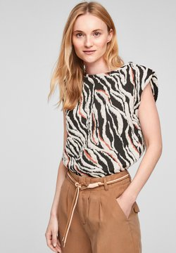 s.Oliver - MIT ZEBRAMOTIV - T-Shirt print - black animal stripes