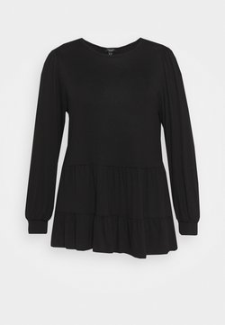 New Look Curves - TIER PEPLUM - Langarmshirt - black