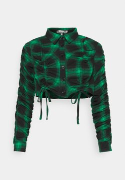 Missguided Petite - RUCHED DETAIL CHECK  - Paitapusero - green