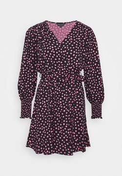 Dorothy Perkins - WRAP MINI SPOT - Freizeitkleid - black/pink