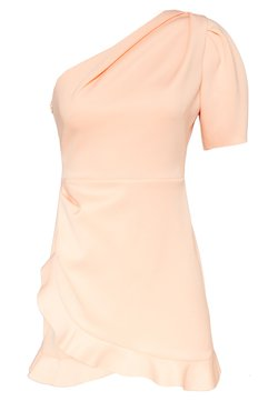 Miss Selfridge Petite - ONE SHOULDER SCUBA DRESS - Cocktailkleid/festliches Kleid - peach