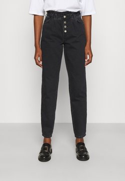 ONLY Tall - ONLCUBA LIFE HW SLOUCHY DOT - Straight leg jeans - black denim