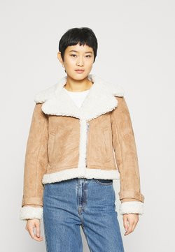 Abercrombie & Fitch - SHEARLING AVIATOR SHORT - Winterjacke - brown