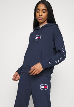 Tommy Jeans - BOX FLAG HOODIE - Hoodie - twilight navy