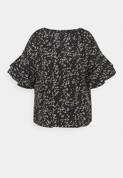 CAPSULE by Simply Be - ANIMAL PRINT FLUTED SLEEVE BLOUSE - T-Shirt print - black