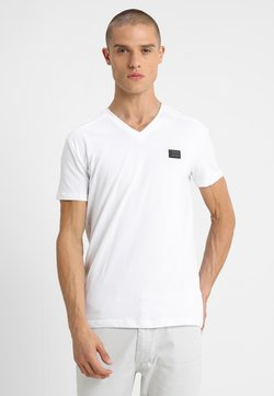 Antony Morato - SPORT V-NECK WITH METAL PLAQUETTE - T-shirt basic - bianco