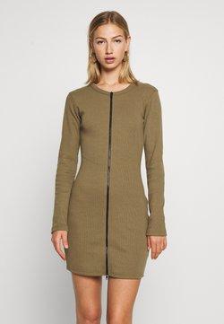 Missguided - CONTRAST ZIP MINI DRESS - Vestido de punto - khaki