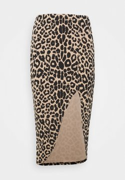 Missguided - LEOPARD SIDE SPLIT MIDI SKIRT - Bleistiftrock - brown