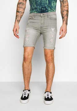 Topman - SPRAY ON - Jeansshort - grey