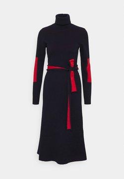 Victoria Beckham - HIGH NECK MIDI DRESS - Stickad klänning - navy/bright red