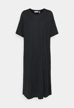 NU-IN - SHORT SLEEVE SIDE SPLIT MIDI DRESS - Vestido ligero - black